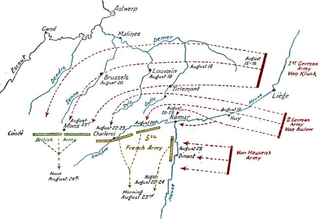De frontlinies rond 20 augustus 1914