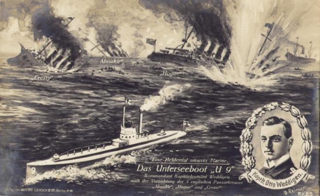 Duitse postkaart die de overwinning van Otto Weddigen viert.