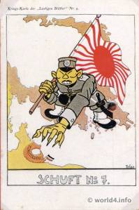 Duitse propagandakaart over de Japanse aanval op Tsingtao
