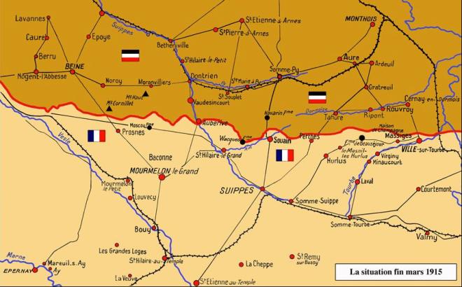 de frontlijn aan het einde van de eerste slag in Champagne in maart 1915