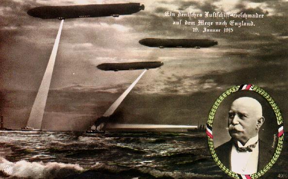 Duitse postkaart die de zeppelinaanval van 19 januari 1915 herdenkt
