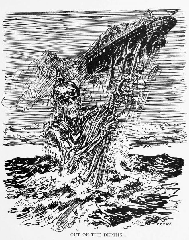 Out_of_the_Depths_-_RMS_Lusitania_by_Oscar_Cesare_c1916