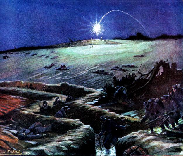 schilderij van Géo Michel - fusée éclairante