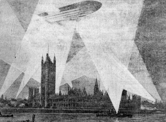 1915-Zeppelin-over-the-House-of-Parliament-London-England