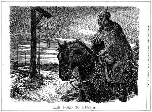 de weg naar Rusland - cartoon uit Punch van 1914