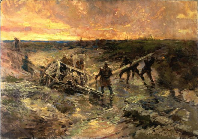 Alfred_Theodore_Joseph_Bastien_-_Canadian_Gunners_in_the_Mud