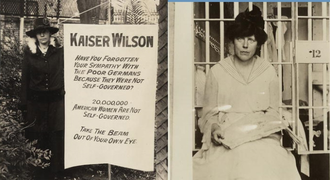 Lucy Burns and Kaiser Wilson banner 1917