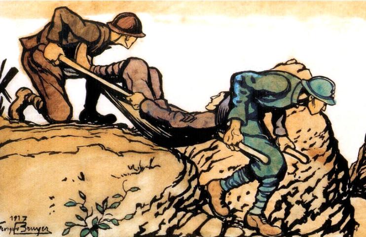 GeorgesBruyer_BrancardiersRamenantUnBlesse_1917