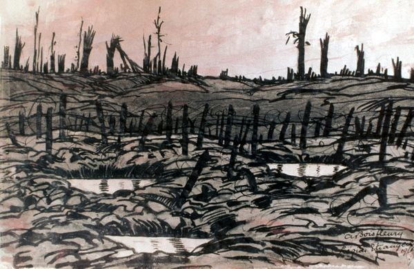 WORLD WAR I: BATTLEFIELD. Battlefield at Chemin des Dames, on Aisne River, France